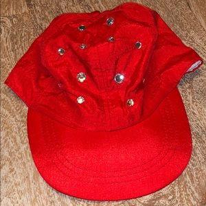 Vintage Red rhinestone bling baseball hat 80s 90s